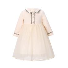 Kleid mit Kontrast Band und Netzstoff Einsatz