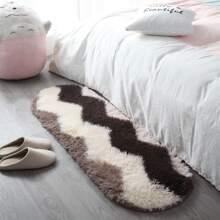 Flauschiger Teppich mit Chevron Muster