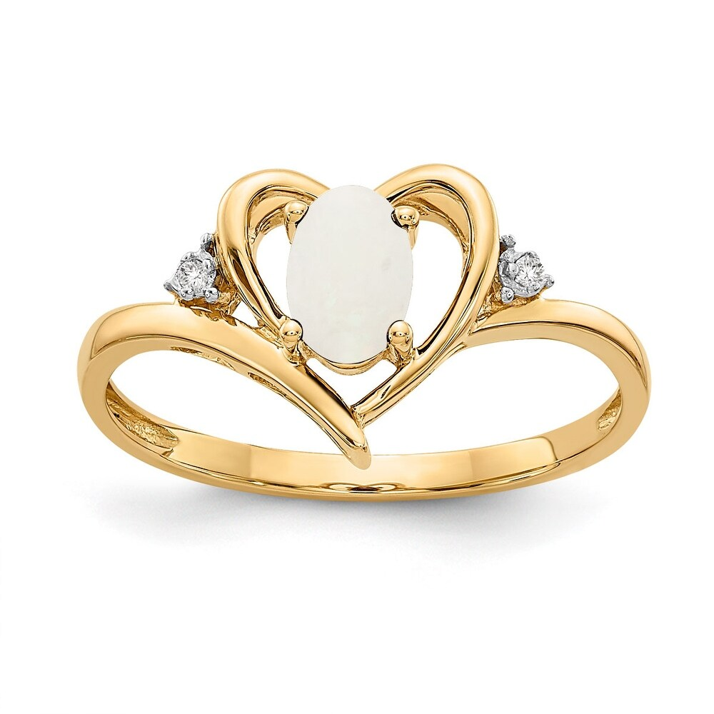 14K Yellow Gold Opal and Diamond Heart Ring by Versil (7)
