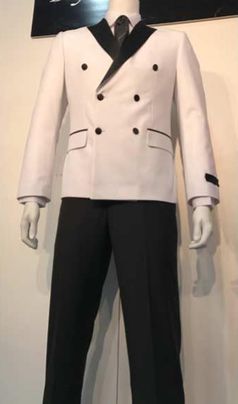 Mens White and Black Lapel Double Breasted Suits Tuxedo Looking