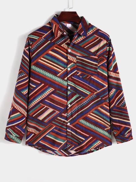 Yoins Men Casual All Over Print Geometric Print Long Sleeve Shirt