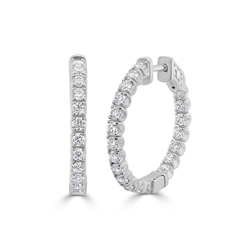 Diamond Hoop Earring 14K WG 1 1.97 CTTW by Joelle Collection (White)