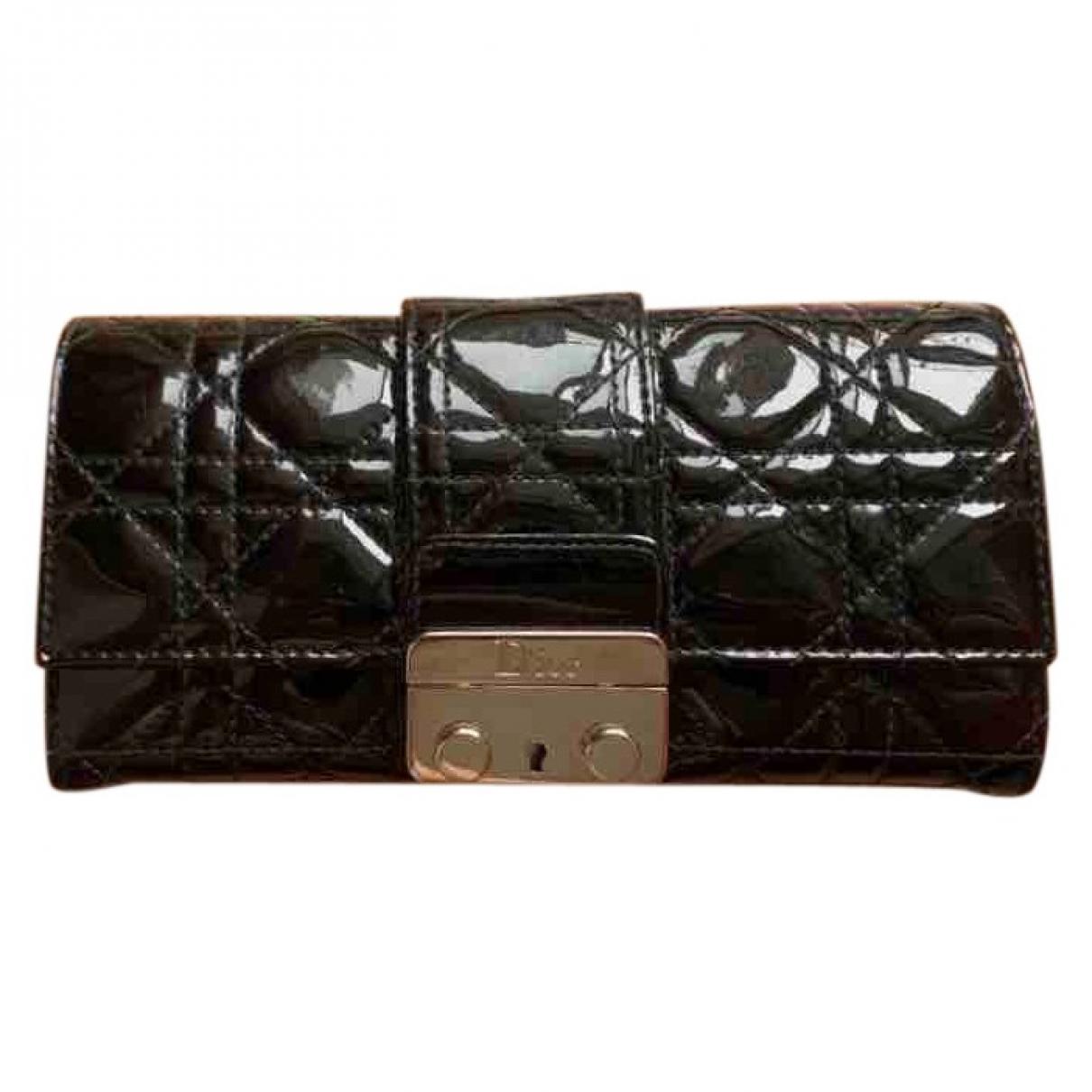 Dior - Portefeuille Miss Dior pour femme en cuir verni - noir