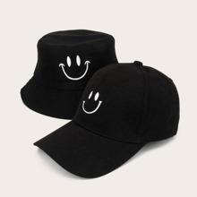 2 Stuecke Herren Smiley Stickerei Bucket Hat & Baseball Kappe