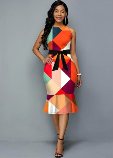 Women'S Multi Color Geometric Printed Sleeveless Sheath Spring Dress Belted Midi Casual Dress By Rosewe - 10