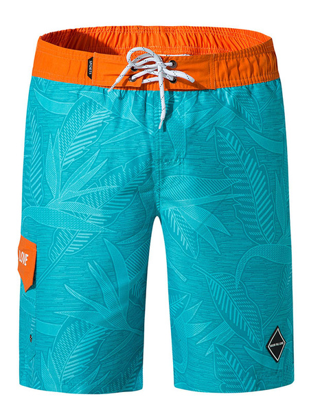 Milanoo Men Swim Trunks For Beach Coconut Trees Printed Drawstring Waist Cotton Summer Board Swimsuit