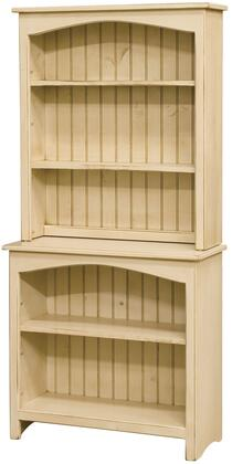 Concord 465108B 32 Bookcase with 3 Shelves  Hutch and Pine Wood Construction in Buttermilk