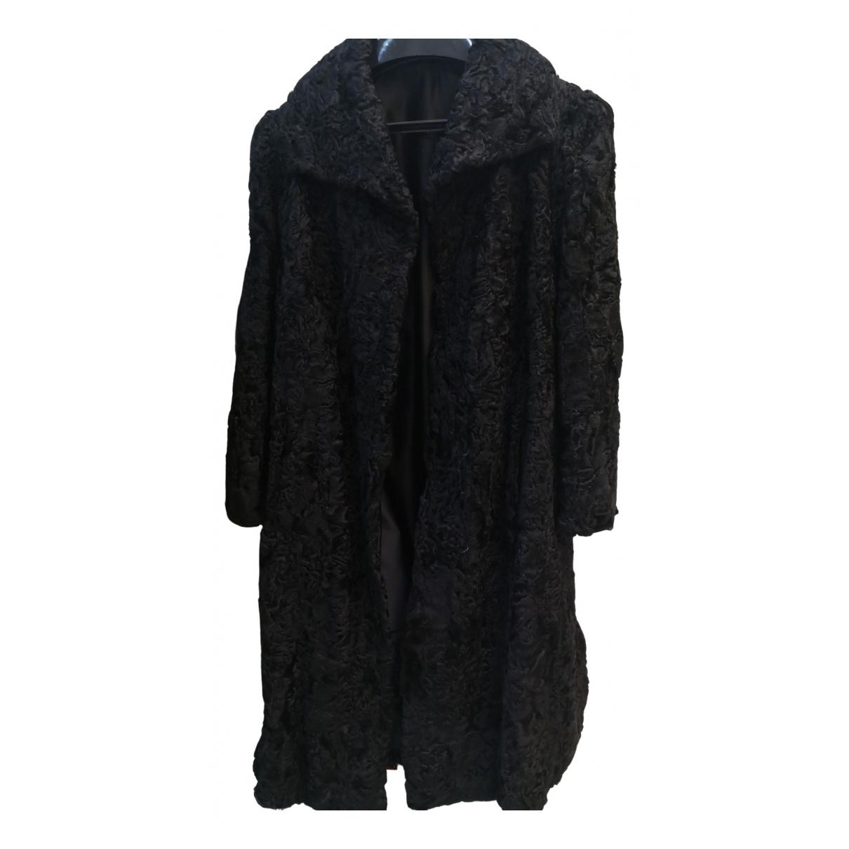 Non Signé / Unsigned N Black Astrakhan coat for Women 42 FR