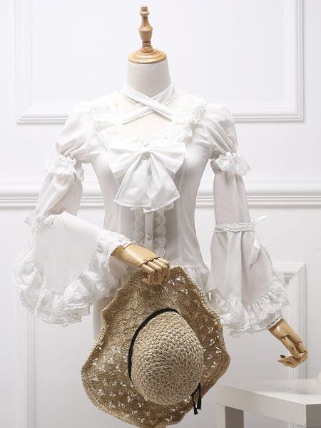 Milanoo Blusa Lolita Clasica Royal Fairytale Lace Bow Ruffle Chiffon Camisa Lolita Blanca
