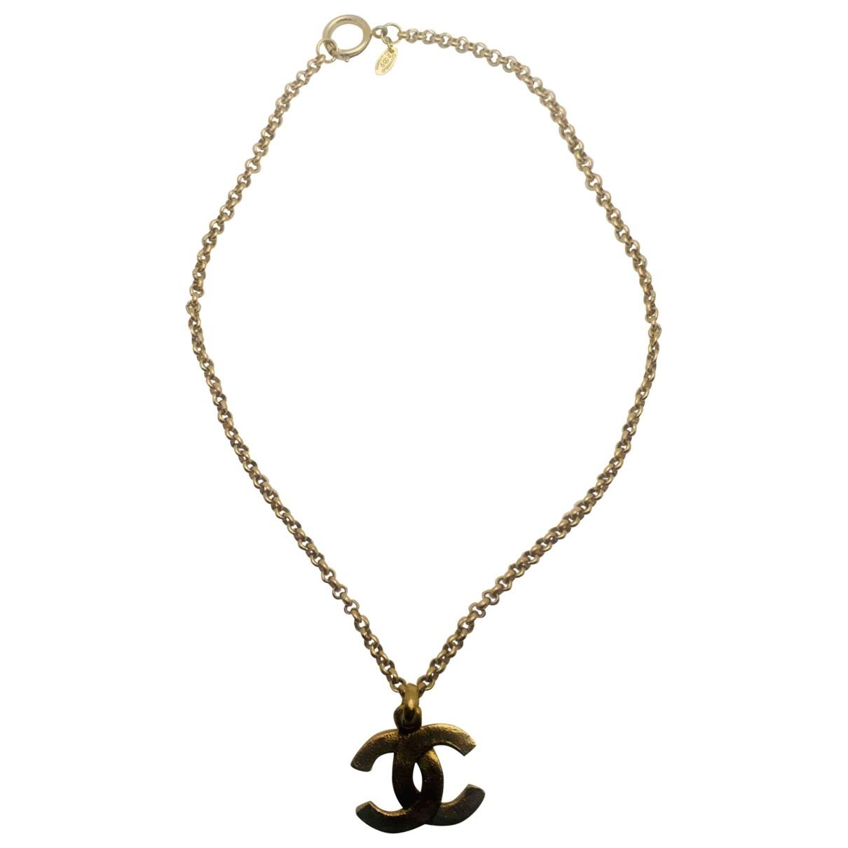 Chanel - Collier CC pour femme en metal - dore