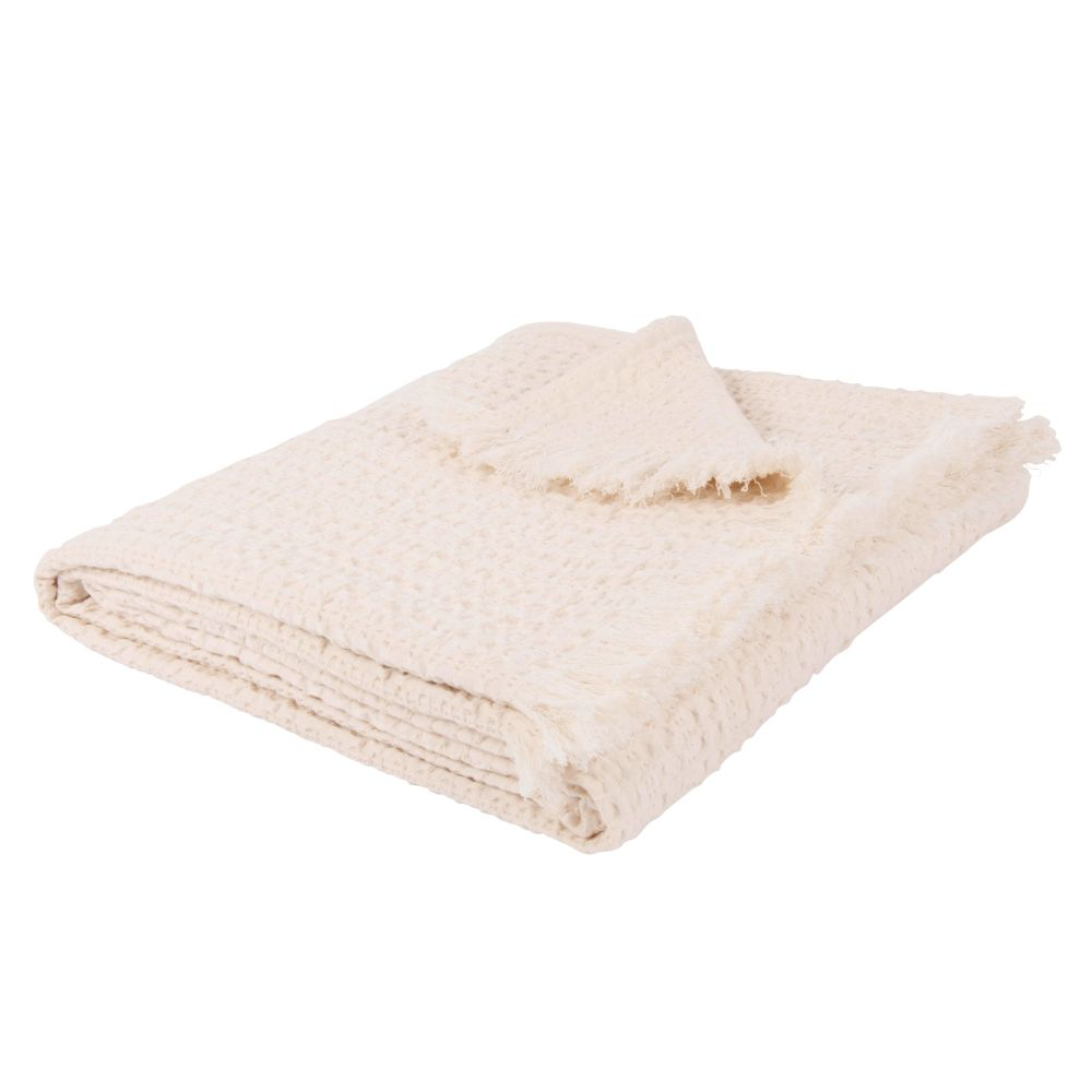 Plaid Bienennest-Motiv aus Baumwolle, ecrufarben 160x210