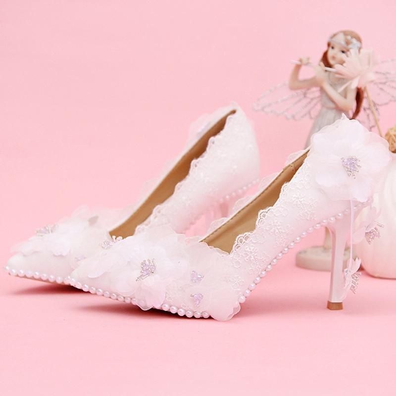 Ericdress Pretty White Ribbon Point Toe Wedding Shoes