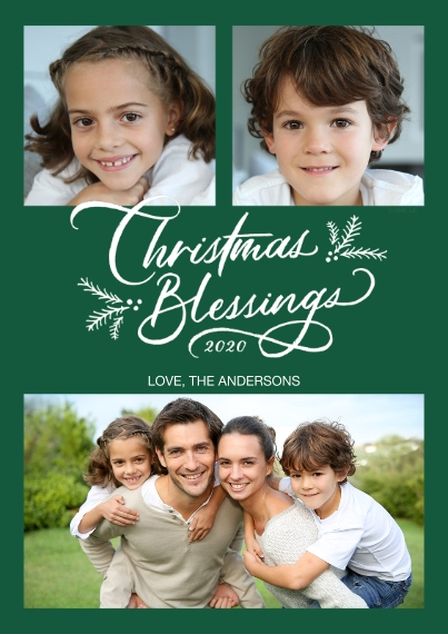 Christmas Photo Cards 5x7 Cards, Standard Cardstock 85lb, Card & Stationery -Christmas Blessings Photo Collage by Hallmark
