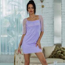 Eilly Bazar vestido de malla de lunares de cuello cuadrado