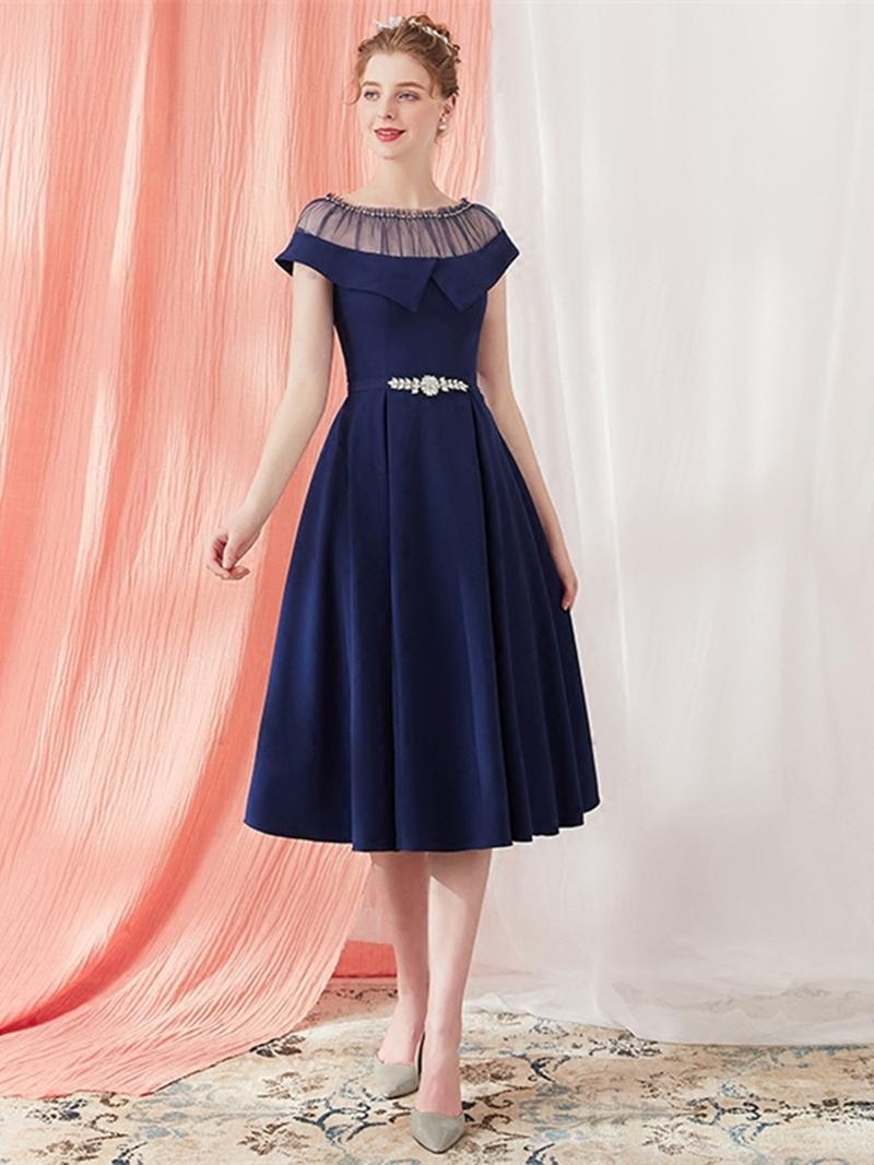 Ericdress A Line Cap Sleeve Vintage Prom Dress