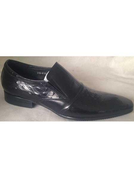 Mens Black Embossed Leather Long Pointy Toe Slip On Shoes