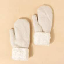 Strick Handschuhe mit flauschigem Saum
