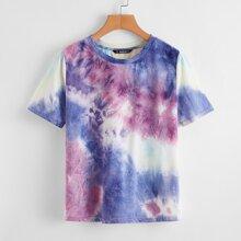 Camiseta de Tie Dye de cuello redondo