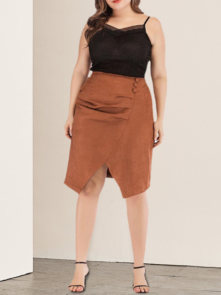 Split Solid Color Plus Size Casual Skirt for Women
