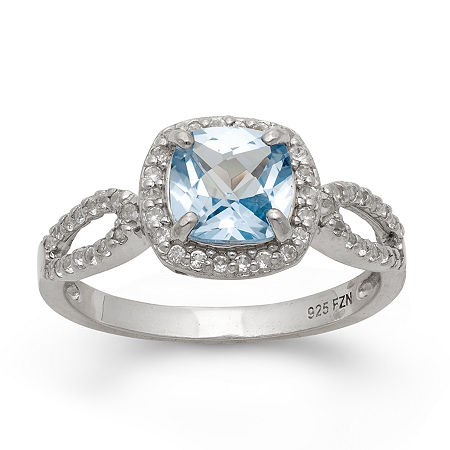 Lab Created Aquamarine & Lab Created White Sapphire Sterling Silver Ring, 7 , No Color Family