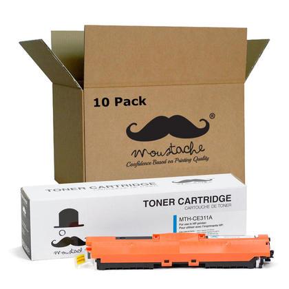 Compatible HP 126A CE311A cartouche de toner cyan - Moustache - 10/paquet