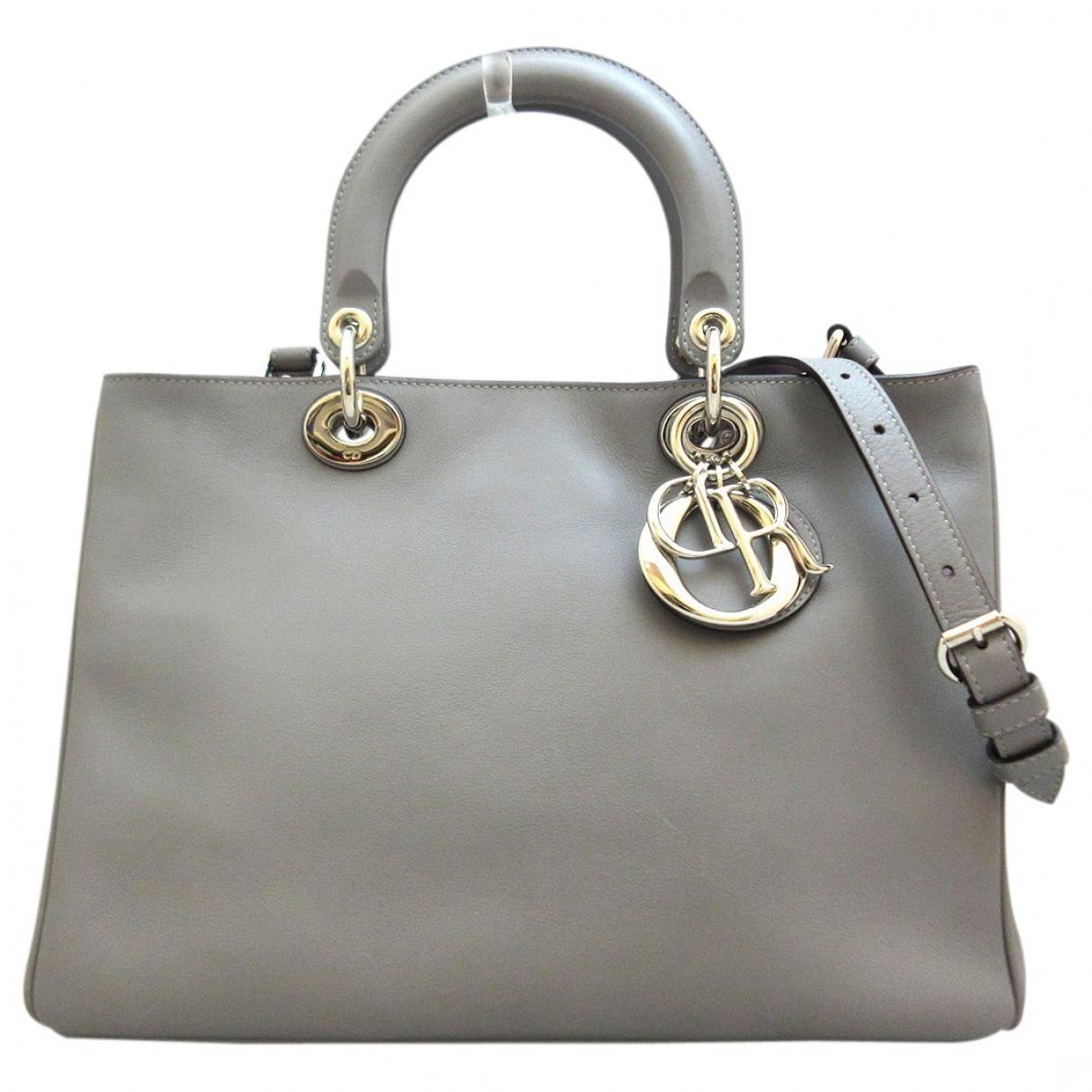 Dior Diorissimo Handtasche in  Grau Leder
