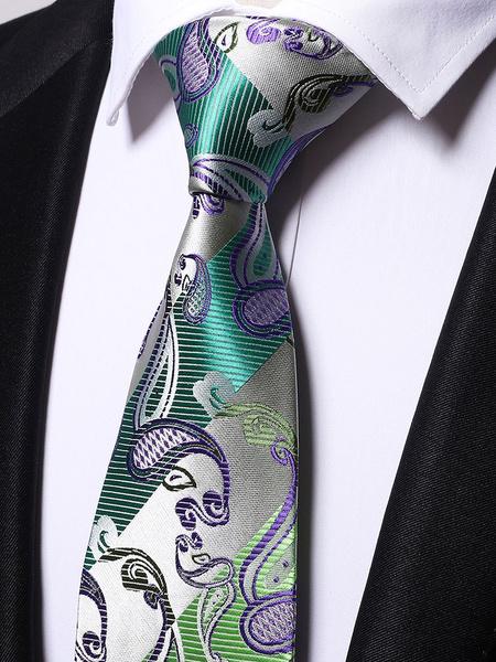 Milanoo Men Neck Tie Green Jacquard Casual Ties