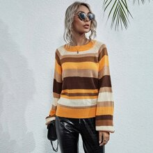 Raglan Sleeve Striped Sweater