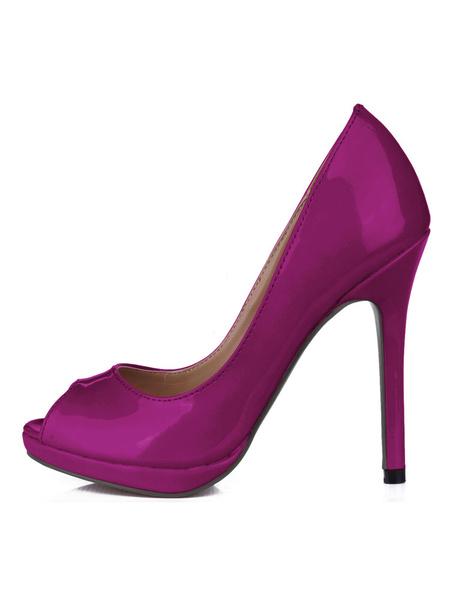 Milanoo Zapatos De Tacones Altos Color Nude Charol Punta Abierta