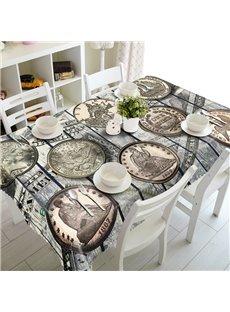Vintage Style Coins Prints Design Home Decorative 3D Tablecloth