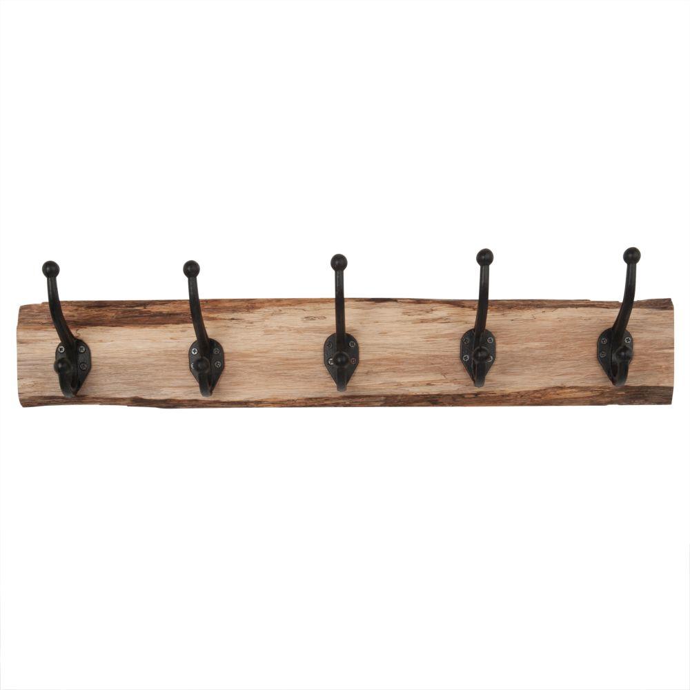 Garderobenleiste aus Eichenholz und mit 5 Metallhaken