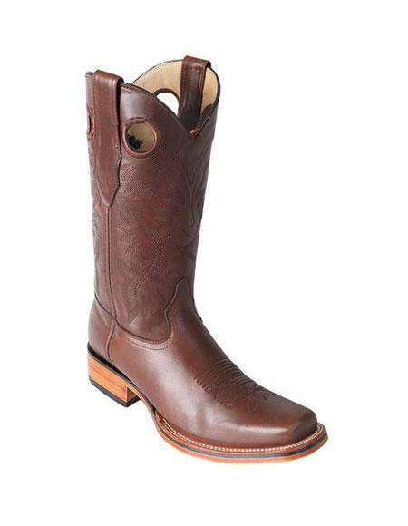 Men's Los Altos Square Toe Brown Boots Saddle Rubber Sole Handmade