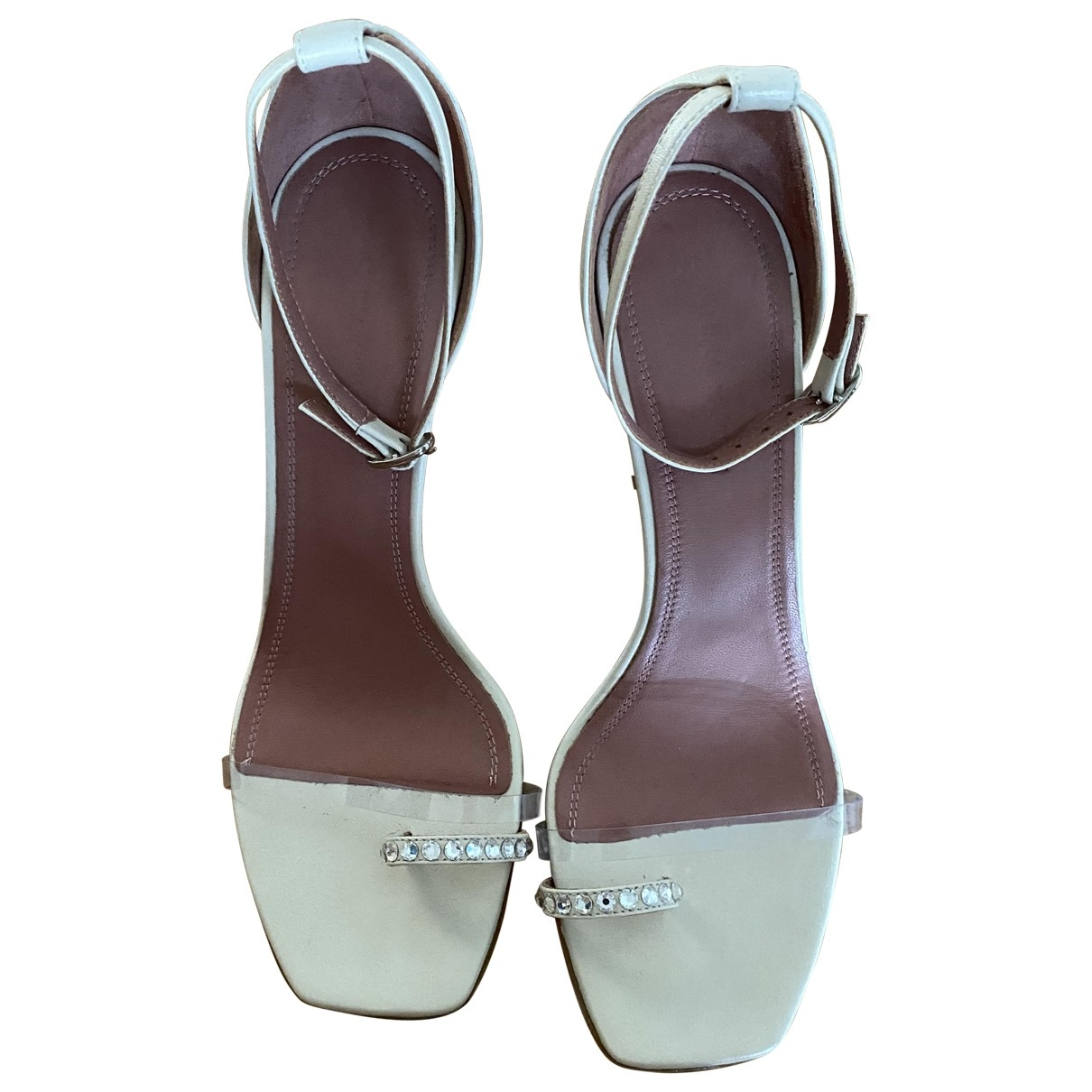 Amina Muaddi - Sandales   pour femme en cuir - blanc