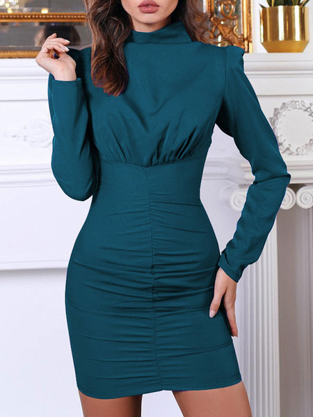 Milanoo Long Sleeve Bodycon Dresses Ruched High Collar Women Pencil Dress