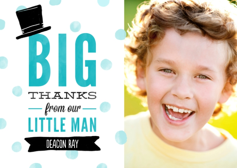 Kids Thank You Cards Flat Matte Photo Paper Cards with Envelopes, 5x7, Card & Stationery -Proper Little Gentleman