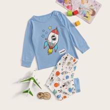 Kleinkind Jungen Schlafanzug Set mit Karikatur Raumfahrzeug Muster