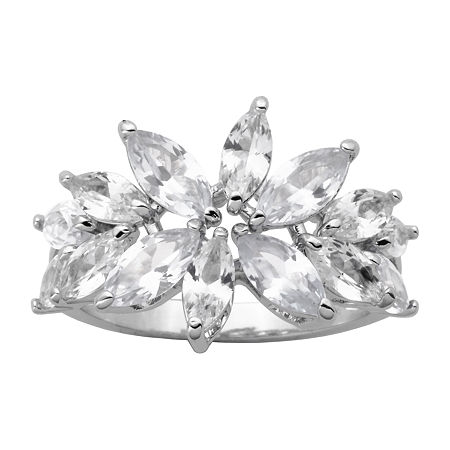 DiamonArt Womens 5 1/2 CT. T.W. Cubic Zirconia Sterling Silver Flower Cocktail Ring, 7 , No Color Family