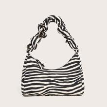 Zebra Striped Hobo Bag