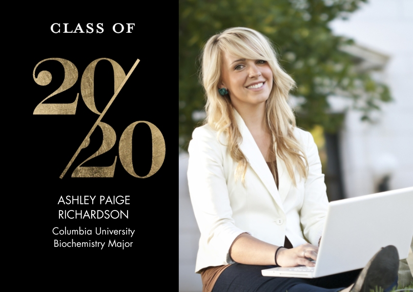 2020 Graduation Announcements 5x7 Cards, Premium Cardstock 120lb with Rounded Corners, Card & Stationery -2020 Stylish by Tumbalina