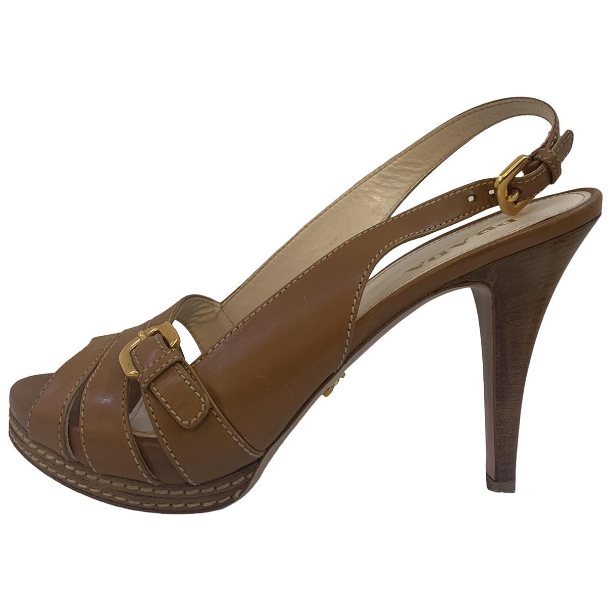 Prada N Camel Leather Heels for Women 38.5 EU