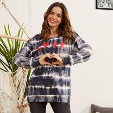 LUUKSE Pullover mit Buchstaben Grafik und Batik