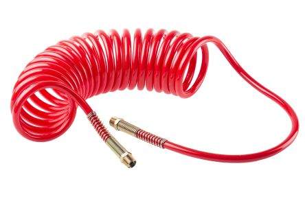 RS PRO 4m Red Coil Tubing with Connector, PUR, BSPT 3/8