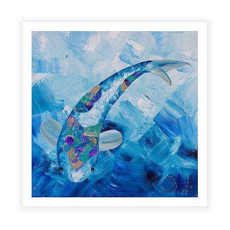 Blue Koi Canvas Wall Art, One Size , Blue