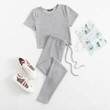 Strick T-Shirt & Leggings mit Taillenband Set