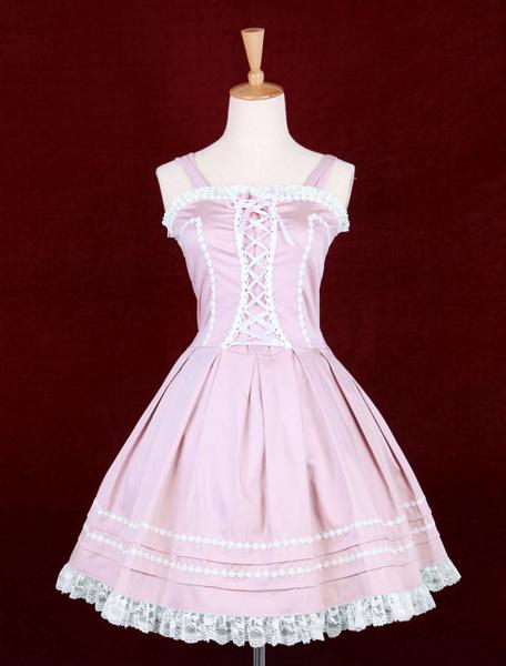 Milanoo Falda tipo Jumper de Lolita rosa gotica de algodon con tirantes con volante fruncido