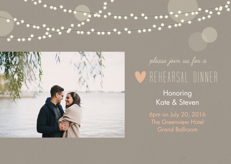 Rehearsal Dinner Invites Flat Glossy Photo Paper Cards with Envelopes, 5x7, Card & Stationery -Lights Rehearsal Dinner Wedding Set