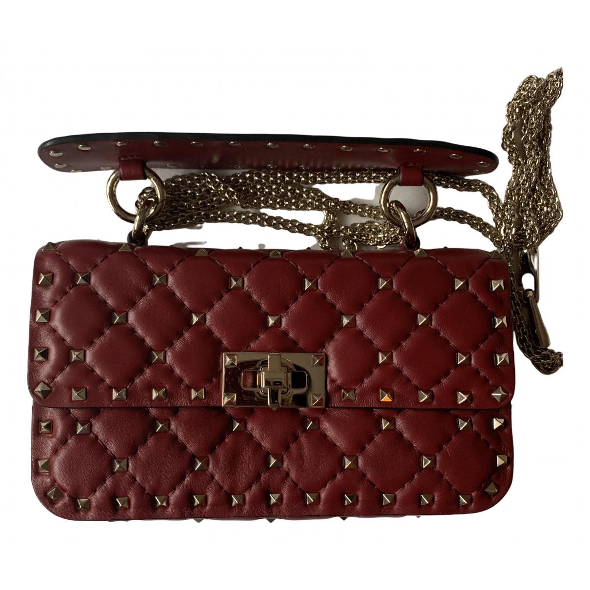 Valentino Garavani Rockstud spike Red Leather handbag for Women N