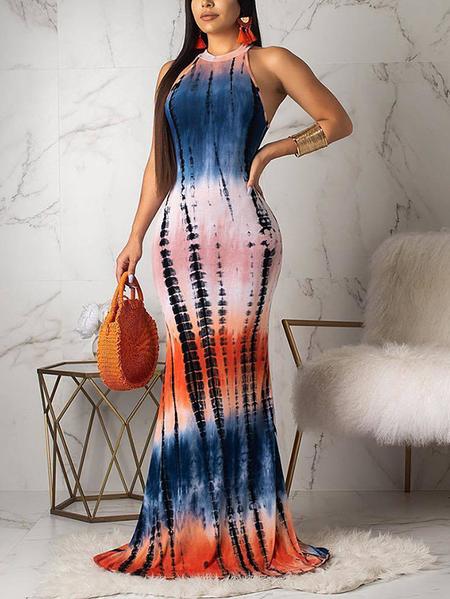 Yoins Multicolor Cut Out Tie Dye Halter Sleeveless Dress