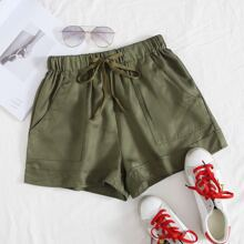 Pocket Patched Tie Front Shorts