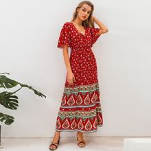 vestido linea A con boton delantero tribal floral de margarita